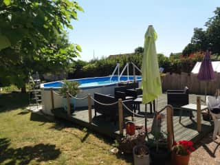 Swimming Pool 6m x 4m  easy access stairs and decking for relaxing