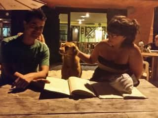 Us with a beach bar friend in Santa Catarina, Brazil