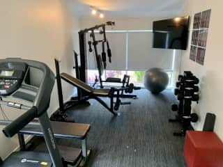 We have made a little home gym in one of the spare rooms.