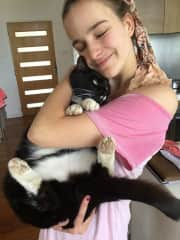 My sister and our huge cat Figaro