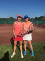 Catherine Sheridan and I at the Albany Tennis Club where we are members.