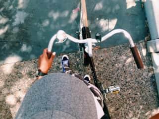 I love to bike around a new city.