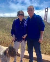 Maggi and I petsitting in Sausalito, California with EZ.