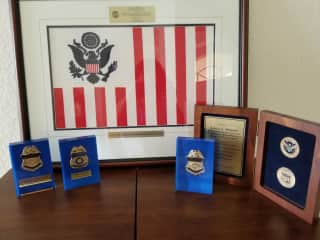 Retired Customs badges and gifted ensign 30 glorious years