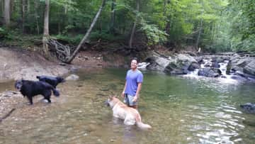 Ben w/ 3 of our dogs playing in the creek