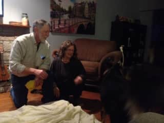 Tony and Wendy being entertained by Bear and Maggie