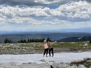 Brigitte and I love hiking, this picture was taken in Wyoming.