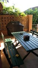 Weber BBQ area in backyard