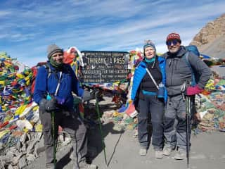 Highest point of the Annapurna trail in Himalayas