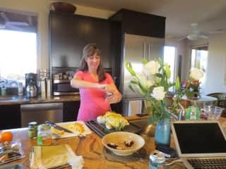friendcooking in the kitchen