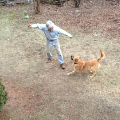 Donn playing with Rusty