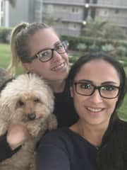 Vicky, Carrie and handsome Brando the pooch