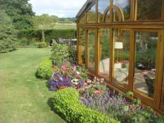 rear garden, conservatory and views