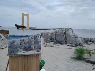 I enjoy painting.This is me out in Eastern Canada.