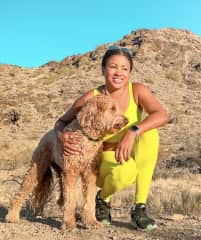 Hiking in Phoenix, AZ with Ren, a therapy dog.
