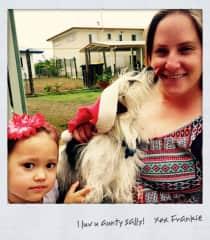 Me with my niece Sophia, and my dognephew, Frankie.