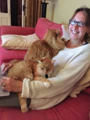 Shelley - cuddles with two of our three pet sit cats that we looked after for 8 months at a chateau in France