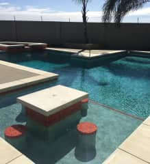 This is a picture of my pool and spa that I designed and contracted myself.