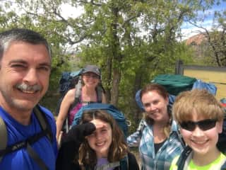 The Castleberry Clan, plus Sunny's sister, first backpacking trip in Zion National Park.