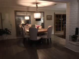 dining room, and sliding doors out to the side garden and patio