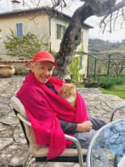Keeping Alex warm.  Spring time in Italy