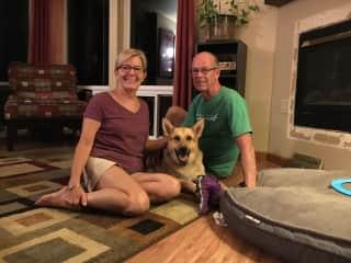 Don, Sue and Trudi (our granddog)