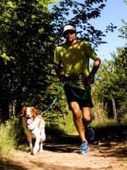 Ben running w/ Ellie the Doggie