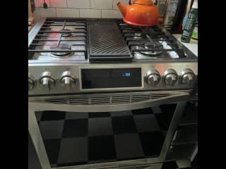 """30"""" Samsung Chef series 5-burner stove and oven with multiple functions. Kitchen is also equipped with micro that has numerous functions, a toaster oven, air-fryer, ice-maker, combo steamer/pressure cooker/slow-cooker, blender, juicer, etc."""