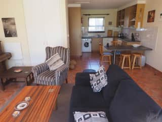 Open plan lounge kitchen.