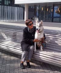 Chilling with handsome Rexx in the Distillery District of Toronto!