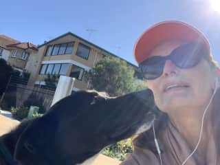 Selfies on our walk. Kisses for the sitter