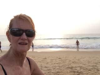 Barbara swimming at the beach