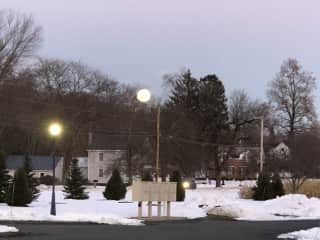Winter at the condo, full moon rising over mailboxes