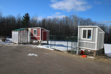 Two chicken coops - currently only using one coop.  Roobo Cop is our beautiful Rooster.
