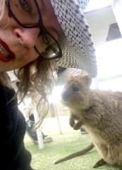Me enjoying some quokka company when visiting Rottnest Island in Western Australia