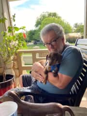 Relaxing on the porch with dad