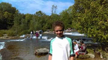 Day tripping with Nolan at Sauble Falls, Ontario
