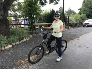 Kathryn in Chico biking this year in June 2020