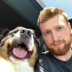 looking cool with an aussie shepherd
