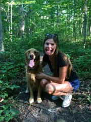 Claire and Oakley in the woods, ON