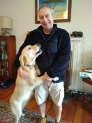 Tony with a lovely dog who stayed with us for a few days.