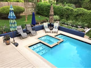 Our former back garden and pool in Austin