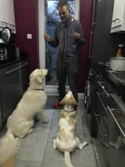 Michael with our beagle Clover and her Retriever pal Dylan