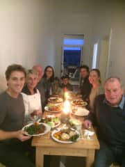 Supper with John's children and friends