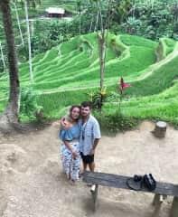 Whit and Tom at Tegallalang Rice Terraces (Bali)