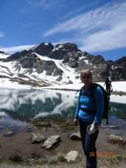 Diane hiking in Swiss alps