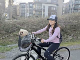 My and my dog Jazz on a bike ride