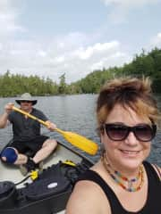 Arnold and I Canoeing, we love hiking, motorcycling, snowmobiling and kayaking.