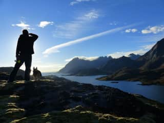 In Lofoten, Norway with our travel pup Tia