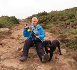 Walking in Wales with my brother's dog, Kasie